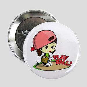 Baseball/Softball Girl Button