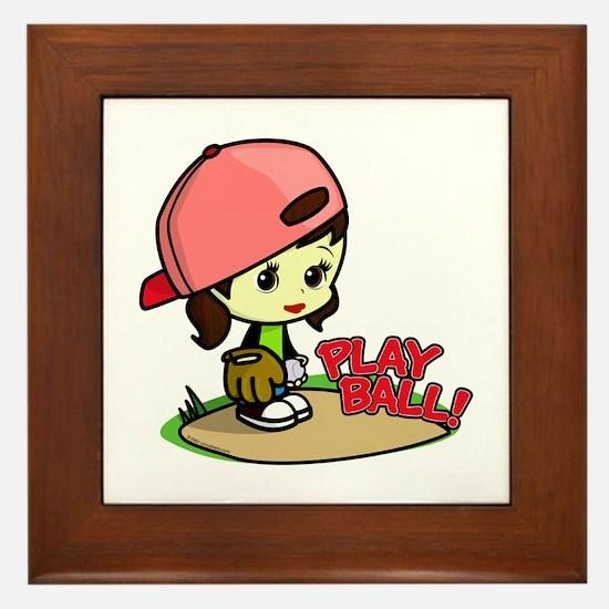 Baseball/Softball Girl Framed Tile