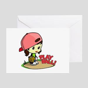 Baseball/Softball Girl Greeting Cards (6)