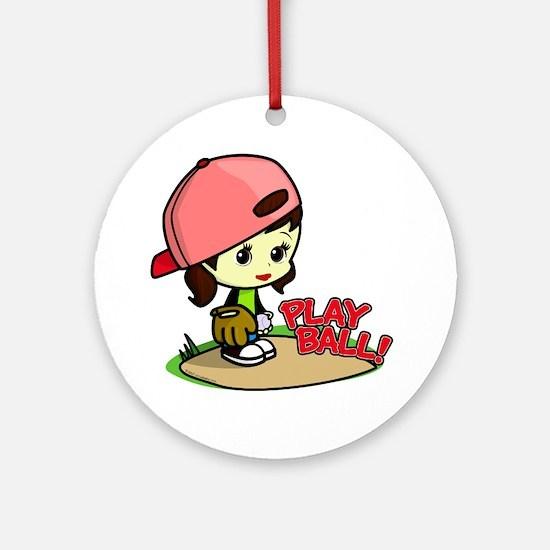 Baseball/Softball Girl Ornament (Round)