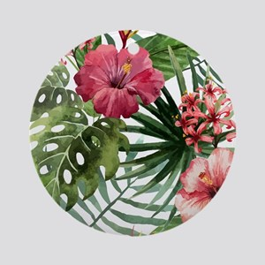 Watercolor Flowers Round Ornament