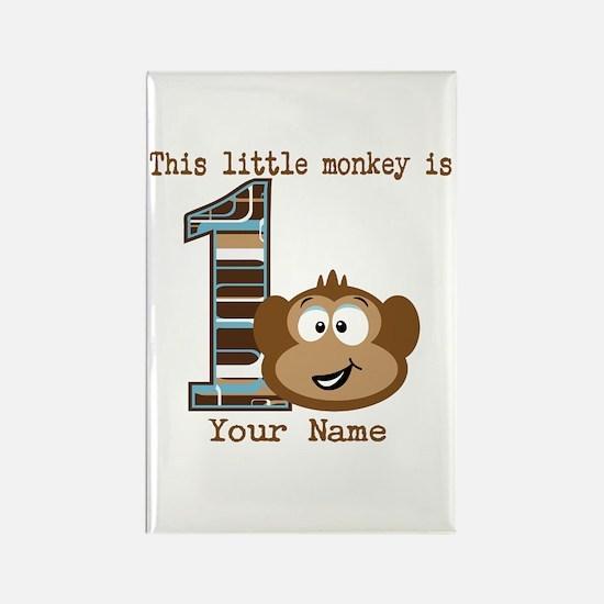 1st Birthday Monkey Personalized Rectangle Magnet