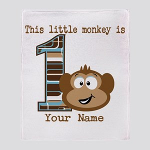 1st Birthday Monkey Personalized Throw Blanket