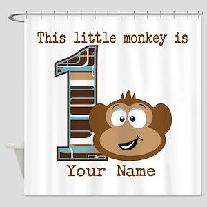 1st Birthday Monkey Personalized Shower Curtain