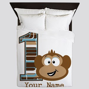 1st Birthday Monkey Personalized Queen Duvet