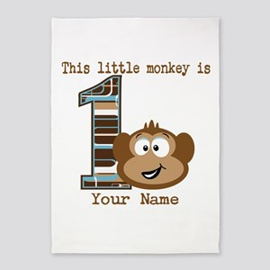 1st Birthday Monkey Personalized 5'x7'Area Rug