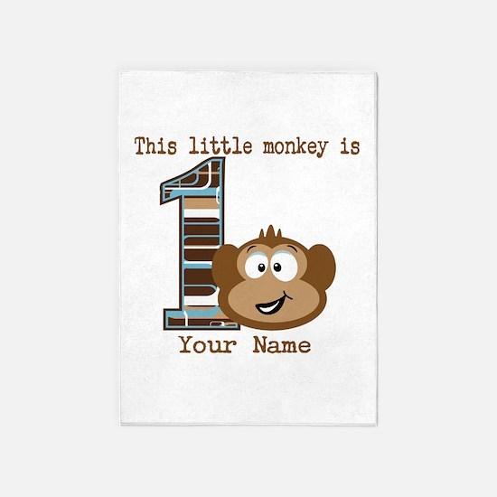 1st Birthday Monkey Personalized 5'x7'Area Rug
