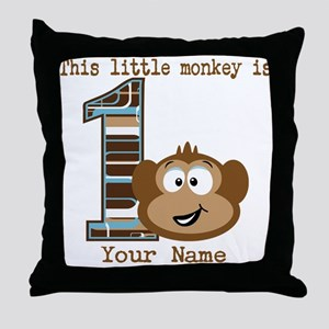 1st Birthday Monkey Personalized Throw Pillow