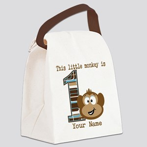 1st Birthday Monkey Personalized Canvas Lunch Bag