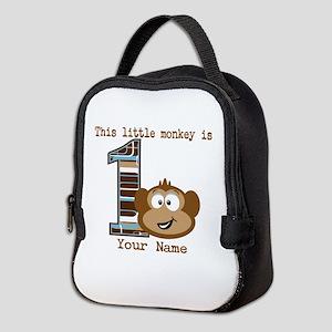 1st Birthday Monkey Personalized Neoprene Lunch Ba