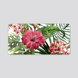 Watercolor Flowers Aluminum License Plate