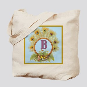 Letter B Vintage Peacock Feathers Monogram Tote