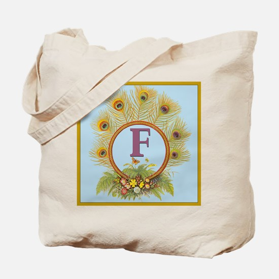 Letter F Vintage Peacock Feathers Monogram Tote
