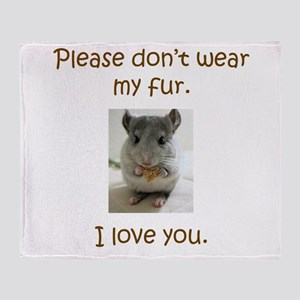 Chinchilla No Fur Throw Blanket