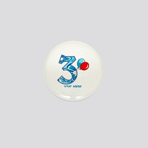 3rd Birthday Balloons Personalized Mini Button