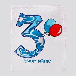 3rd Birthday Balloons Personalized Throw Blanket