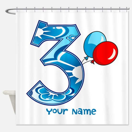 3rd Birthday Balloons Personalized Shower Curtain