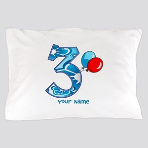 3rd Birthday Balloons Personalized Pillow Case