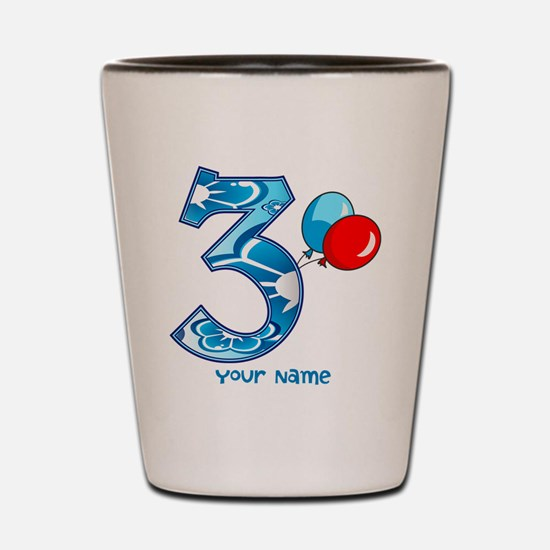 3rd Birthday Balloons Personalized Shot Glass