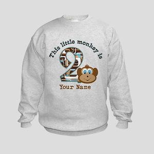 2nd Birthday Monkey Personalized Kids Sweatshirt