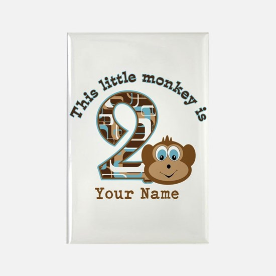 2nd Birthday Monkey Personalized Rectangle Magnet