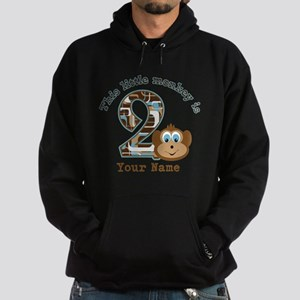 2nd Birthday Monkey Personalized Hoodie (dark)