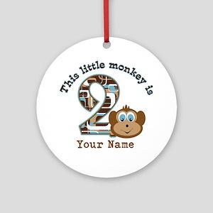 2nd Birthday Monkey Personalized Ornament (Round)