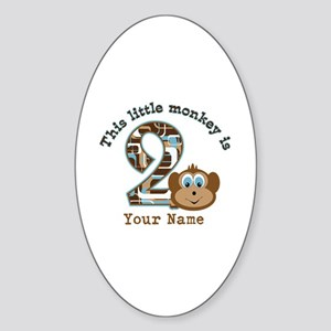 2nd Birthday Monkey Personalized Sticker (Oval)