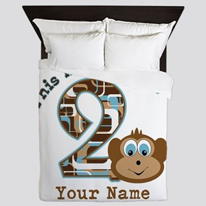 2nd Birthday Monkey Personalized Queen Duvet