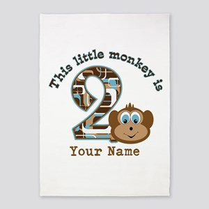 2nd Birthday Monkey Personalized 5'x7'Area Rug