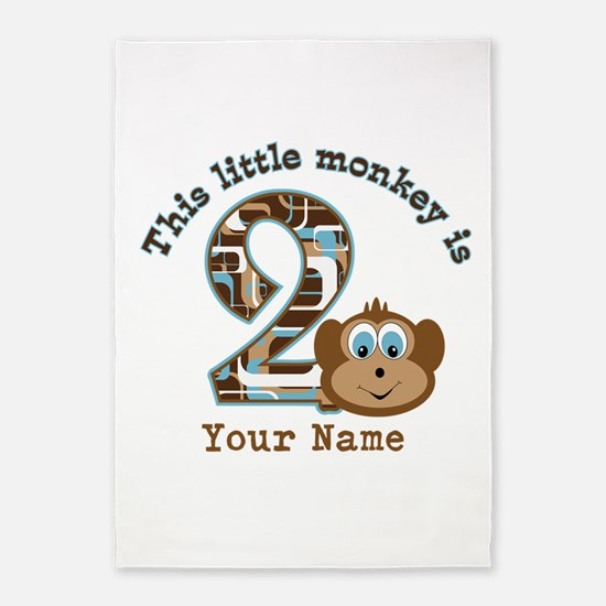 2nd Birthday Monkey Personalized 5'x7'Area Rug