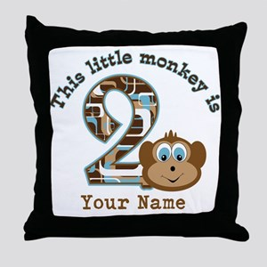 2nd Birthday Monkey Personalized Throw Pillow