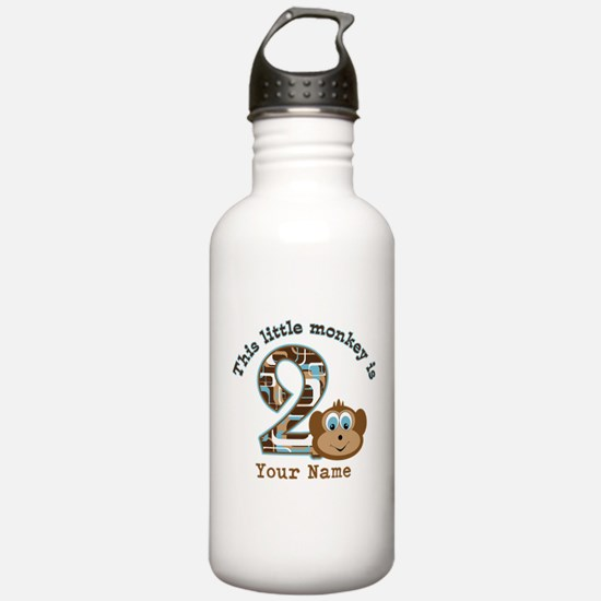 2nd Birthday Monkey Personalized Sports Water Bottle