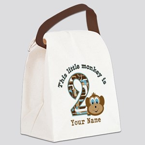 2nd Birthday Monkey Personalized Canvas Lunch Bag