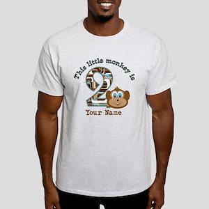 2nd Birthday Monkey Personalized Light T-Shirt