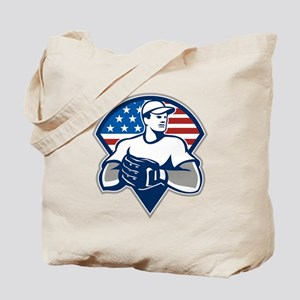 American Baseball Pitcher Gloves Retro Tote Bag