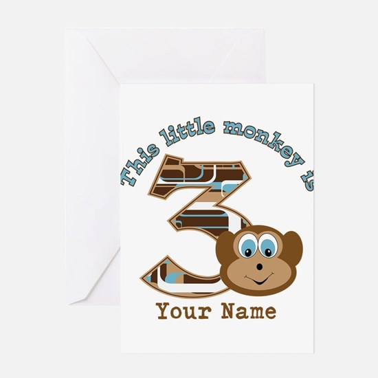 3rd Monkey Birthday Personalized Greeting Card