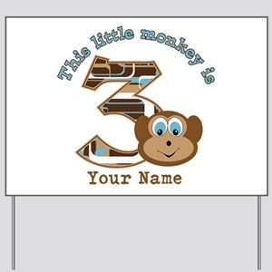 3rd Monkey Birthday Personalized Yard Sign