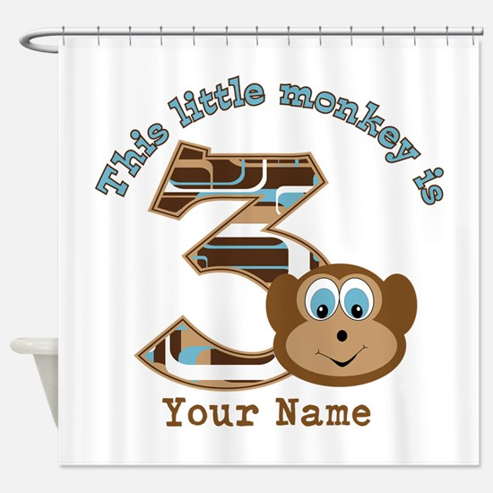 3rd Monkey Birthday Personalized Shower Curtain