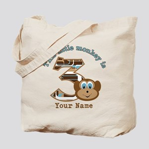 3rd Monkey Birthday Personalized Tote Bag