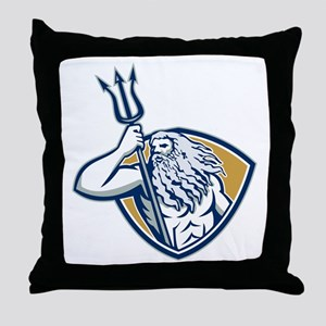 Neptune Poseidon Trident Shield Retro Throw Pillow