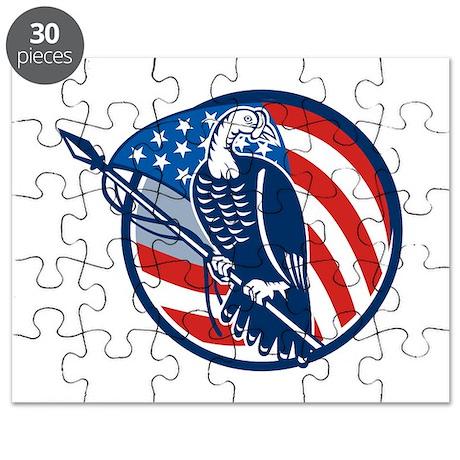 Wild Turkey Perching American Flag Puzzle