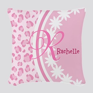 Stylish Pink and White Monogram Woven Throw Pillow
