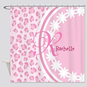 Stylish Pink and White Monogram Shower Curtain