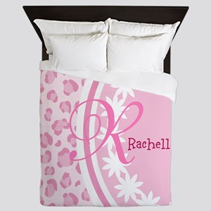 Stylish Pink and White Monogram Queen Duvet