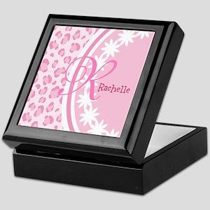Stylish Pink and White Monogram Keepsake Box