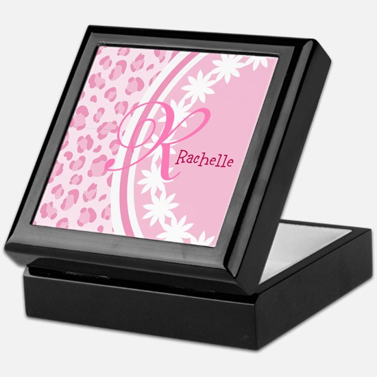 Stylish Pink and White Monogram Keepsake Box