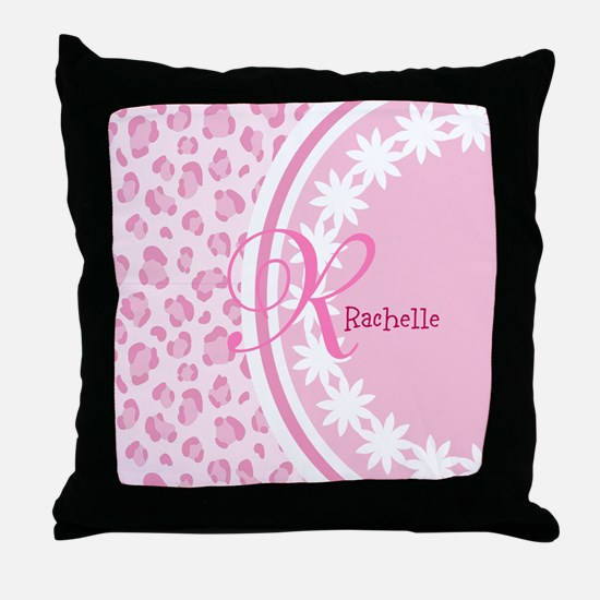 Stylish Pink and White Monogram Throw Pillow