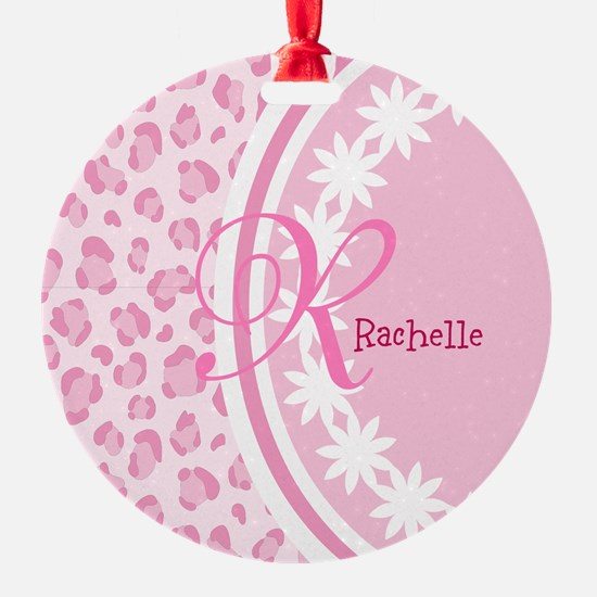 Stylish Pink and White Monogram Ornament