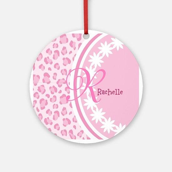 Stylish Pink and White Monogram Ornament (Round)
